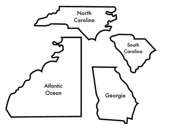 South Carolina's Bordering States and Ocean Puzzle