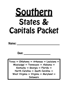 Southern States and Capitals Review Packet by Tolu Noah