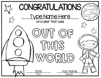 Space Awards: End of Year Awards FREEBIE {Editable} by The