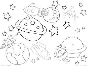Coloring: Space Coloring Sheets by Elementary Nerd by