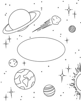 Space Science Binder Cover Coloring Sheet by Art By Melle