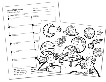 Coloring Activity Template: Space Theme (Personal Use Only