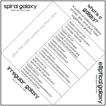Space Vocabulary Foldable Activity by Created by Kelly Ann