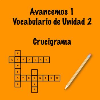 Spanish Avancemos 1 Vocab 2.2 Crossword by Srta's Spanish