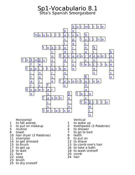 Spanish Avancemos 1 Vocab 8.1 Crossword by Srta's Spanish