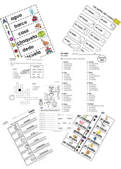 Spanish 2nd grade Complete bundle. (worksheets, Tests