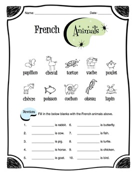 French Animals Worksheet Packet by Sunny Side Up Resources