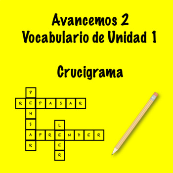 Spanish Avancemos 2 Vocab 1.1 Crossword by Srta's Spanish