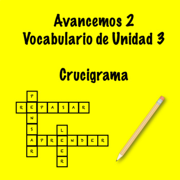 Spanish Avancemos 2 Vocab 3.2 Crossword by Srta's Spanish