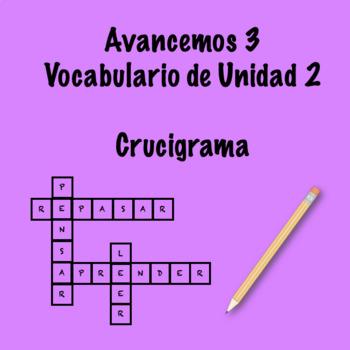 Spanish Avancemos 3 Vocab 2.1 Crossword by Srta's Spanish