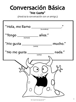 Spanish Basic Conversation Exercises (K-2) by Mi Camino