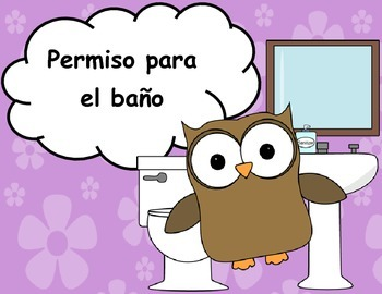 Spanish Bathroom Pass  Permiso para el bao by Maestra