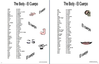 Spanish Body Parts Vocabulary 70 Word Reference and Study
