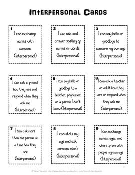 Spanish Can-Do Review Cards I: Novice-Low to Novice-Mid by