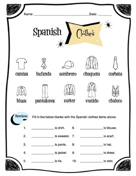 Spanish Clothing Items Worksheet Packet by Sunny Side Up
