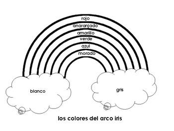 Spanish Color Practice Worksheet / Los colores del arco