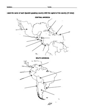 Spanish-Speaking Countries Map for Labeling by Senorita