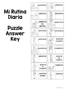 Spanish Daily Routines Reflexive Verbs Puzzles by Island