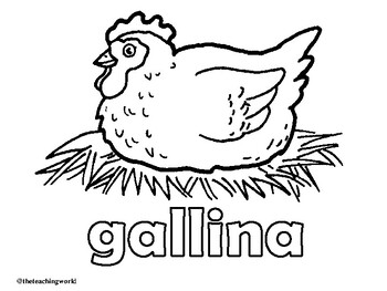 Spanish Farm Animals Coloring Pages by The Teaching World
