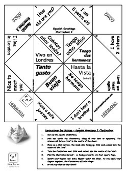 Spanish Greetings Cootie Catchers by Key Facts