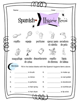 Spanish Hygiene Words Worksheet Packet by Sunny Side Up