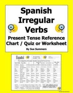 Spanish irregular present tense verb conjugation reference also by sue rh teacherspayteachers