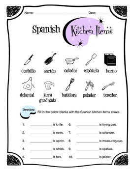 Spanish Kitchen Items Worksheet Packet by Sunny Side Up
