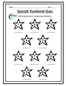 Spanish Numbers 1-10 Worksheet by Sunny Side Up Resources