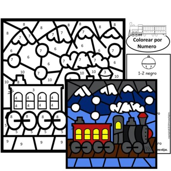 Spanish Polar Express Color by Number Math Christmas