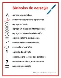 Spanish proofreading marks anchor chart also poster teaching resources teachers pay rh teacherspayteachers