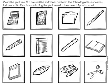 Spanish School Supplies Interactive Notebook Activity by