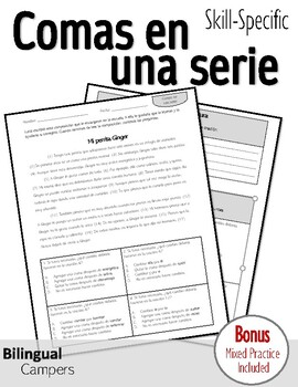 Spanish Skill-Specific Writing STAAR Practice: Comas en