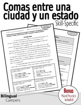 Spanish Skill-Specific Writing STAAR Practice: Comas entre
