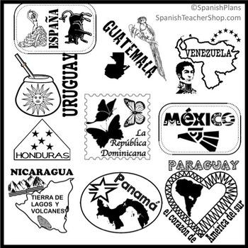 Spanish Speaking Countries Passport Stamp Set Clipart by