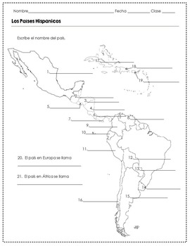 Spanish Speaking Countries and Capitals Worksheets by The