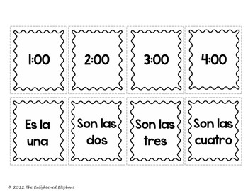 Spanish Telling Time Go Fish Card Game by The Enlightened