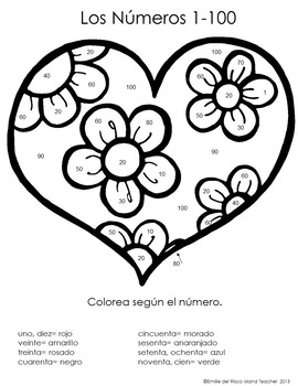 Spanish Valentines Day Hearts Color by Number 1-10, 1-20