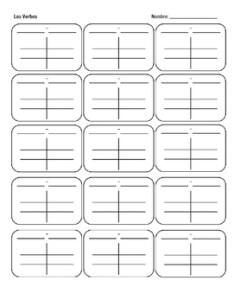 Spanish verb charts blank also by ms groth tpt rh teacherspayteachers