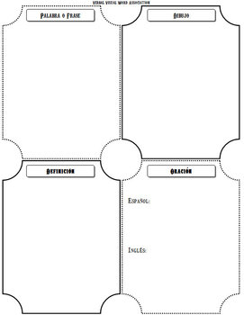 Spanish Verbal Visual Word Association Graphic Organizer
