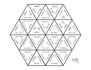 Spanish Vocabulary Puzzle for Greetings by Senorita