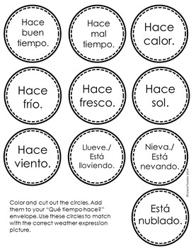 Spanish Interactive Notebook Weather Activity and Game by