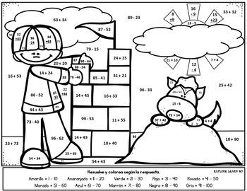 Spanish Winter Math Fun / Two Digit Addition & Subtraction
