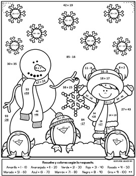 Spanish Winter Math / Snowmen Two Digit Addition