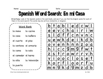 Spanish Word Search: In My House 3rd-6th Grade by In the