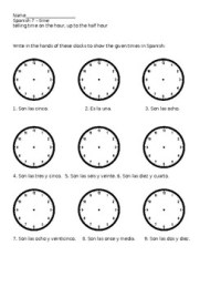 Spanish telling time up to the half hour worksheet