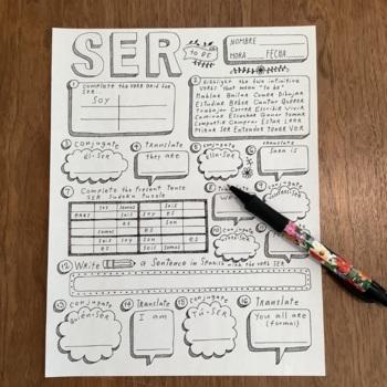Spanish verb SER ~worksheet ~verb conjugation ~translation