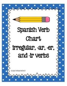 Original  also spanish verb chart for ar er and ir verbs six irregular rh teacherspayteachers