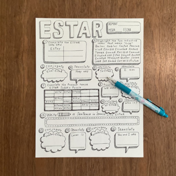 Spanish verb estar ~worksheet ~verb conjugation