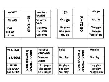 Spanish verbs IR and JUGAR notes, practice, worksheets