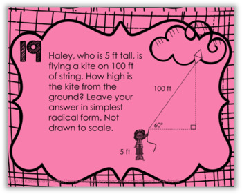 Special Right Triangle Task Cards 45-45-90 and 30-60-90 by